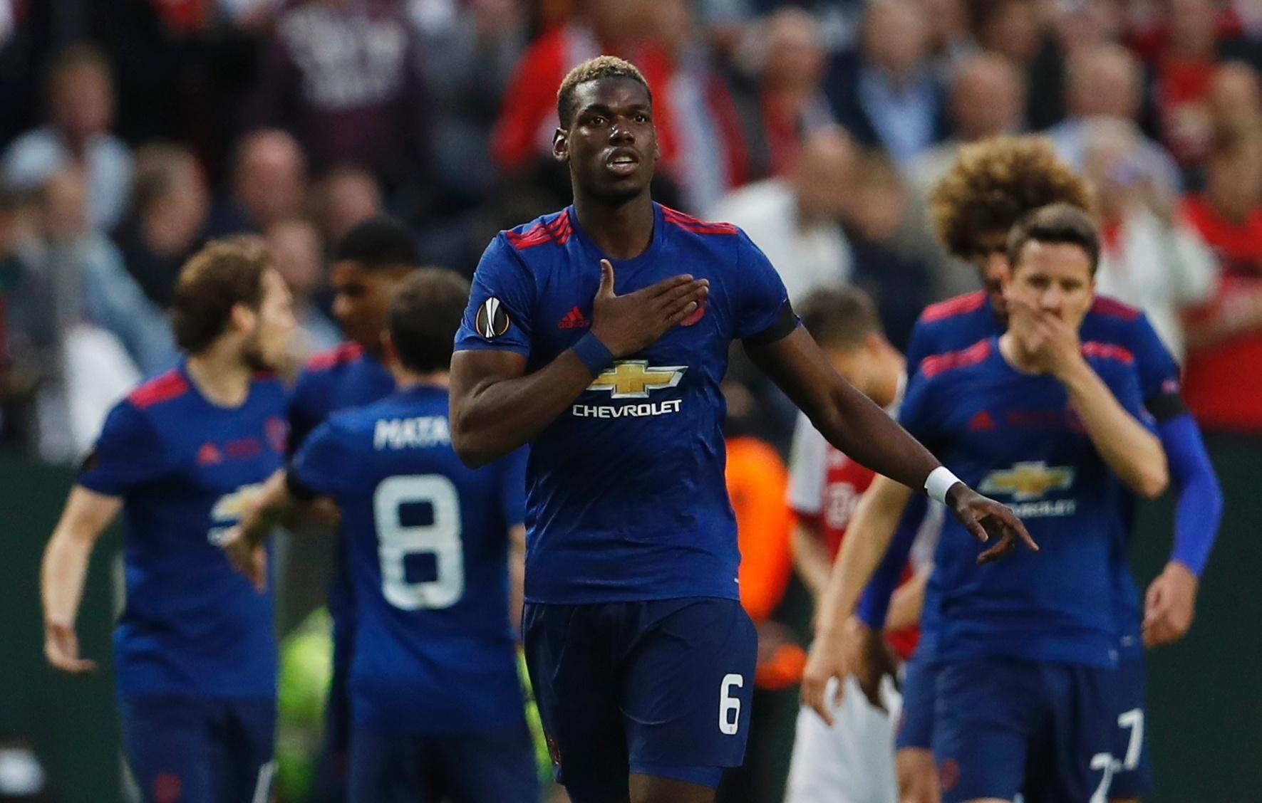 Pogba comemora o seu gol pelo Manchester United na final da Liga Europa contra o Ajax