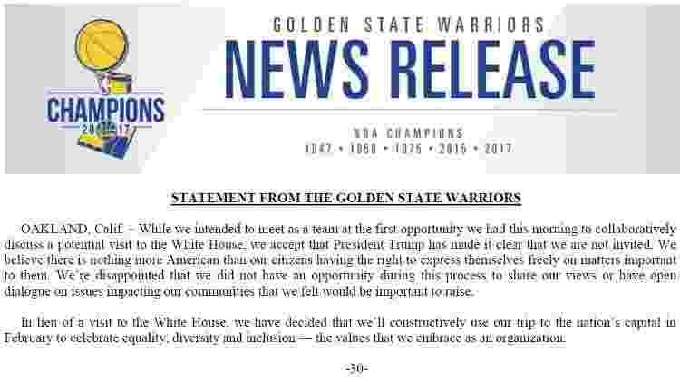 Warriors publica comunicado oficial sobre convite derrubado por Trump - reprodução/Warriors - reprodução/Warriors