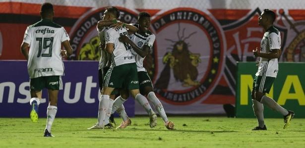 Jogadores do Palmeiras comemoram gol contra o Vitória na final do Brasileiro sub-20 - Fabio Menotti/Palmeiras