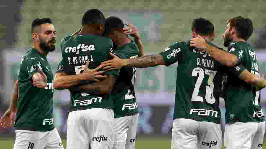 Jogadores do Palmeiras comemoram gol de Willian sobre o Bolívar (BOL) - Amanda Perobelli - Pool/2020 Pool