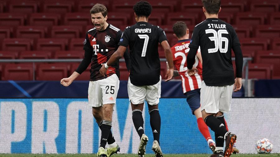 Muller comemora o gol de empate do Bayern de Munique contra o Atlético de Madri na Liga dos Campeões - NurPhoto/NurPhoto via Getty Images