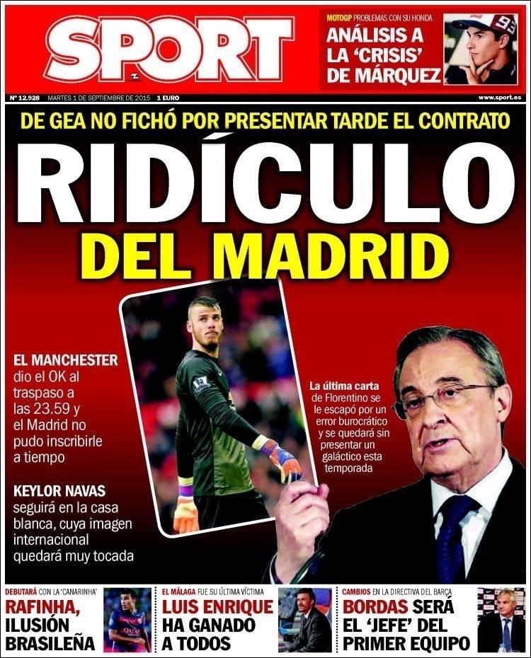 Sport (Barcelona, Espanha): 'Ridículo do Real Madrid: De Gea não assinou por apresentar muito tarde o contrato'