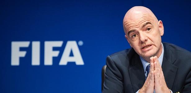 Gianni Infantino, presidente da Fifa, durante entrevista coletiva