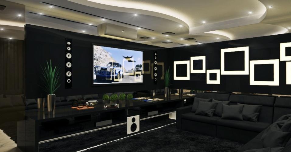 Sala de televisão na residência