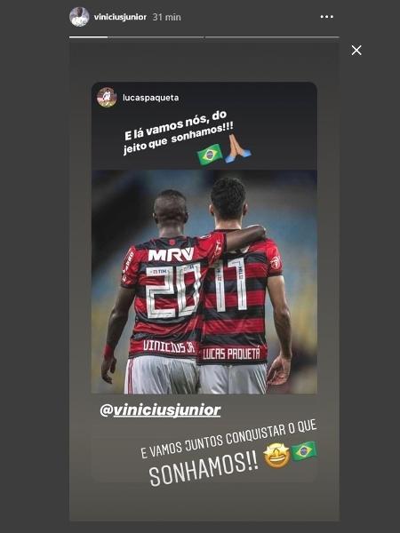 Vinicius Jr e Lucas Paquetá comemoram convocação para seleção brasileira - Reprodução