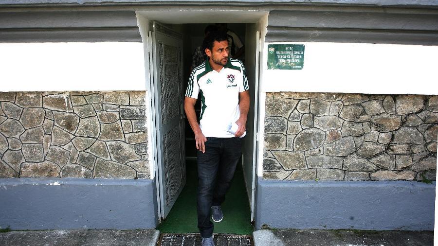 Atacante Fred chega para coletiva no Fluminense, em agosto 2011 - Nelson Perez / Fluminense F.C.
