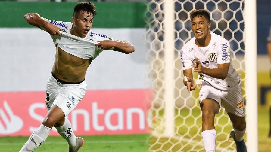 Kaio Jorge (esq.) e Marcos Leonardo (dir.) tiveram tanto destaque quanto Yuri Alberto na base do Santos - Ivan Storti e Pedro Ernesto Guerra Azevedo/Santos FC