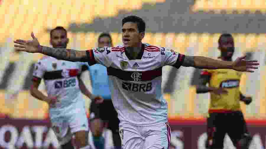 Pedro comemora gol pelo Flamengo contra o Barcelona de Guayaquil pela Copa Libertadores 2020 - RODRIGO BUENDIA / POOL / AFP