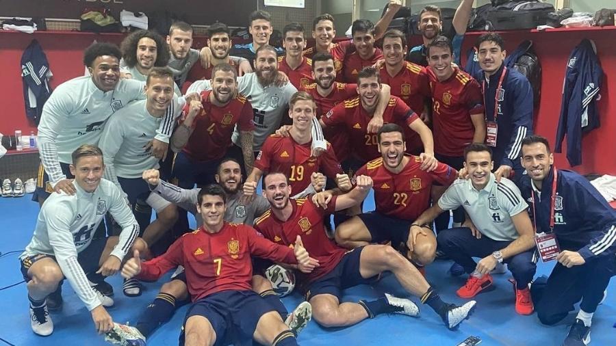 Seleção da Espanha após vitória na Liga das Nações - Instagram