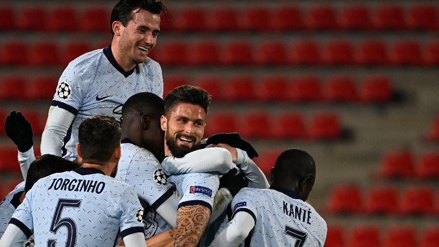 Giroud anotou o gol da vitória do Chelsea contra o Rennes, pela Liga dos Campeões - Divulgação/Chelsea FC