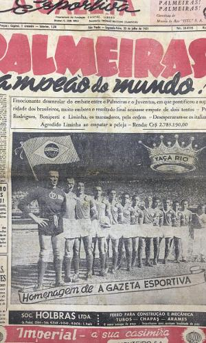 Capa da Gazeta Esportiva sobre o