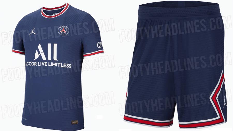 Suposto uniforme do PSG para a temporada 2021-22 - Montagem sobre reprodução/FootyHeadlines.com