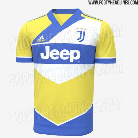 Suposta nova camisa 3 da Juventus é amarela, azul e branca - Reprodução/FootyHeadlines.com