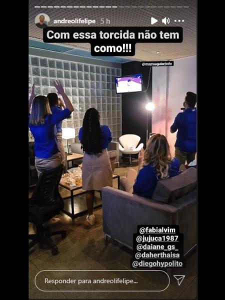 Felipe Andreoli registra comentaristas torcendo por Mayra Aguiar - Reprodução web
