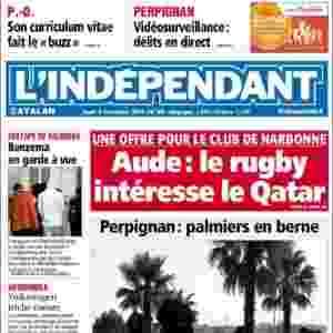"""L'Indépendant (Perpignan, França): """"Benzema em prisão preventiva"""" - Reprodução"""