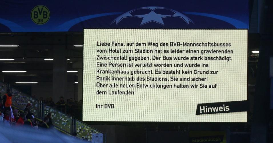 Borussia Dortmund anunciou o acidente no telão do estádio