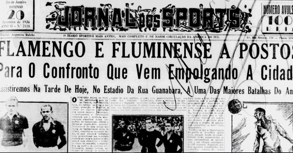 Jornal dos Sports destaca o Fla-Flu em 1936
