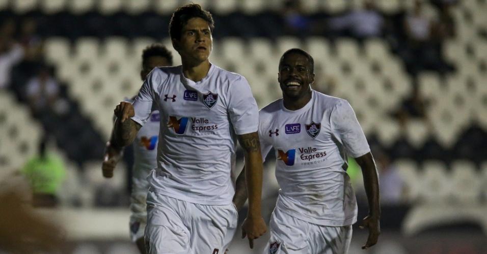 O atacante Pedro comemora o gol de empate do Fluminense no clássico contra o Vasco