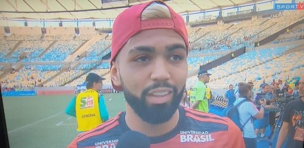 Gabigol, atacante do Flamengo, no estádio Maracanã - Reprodução/SporTV