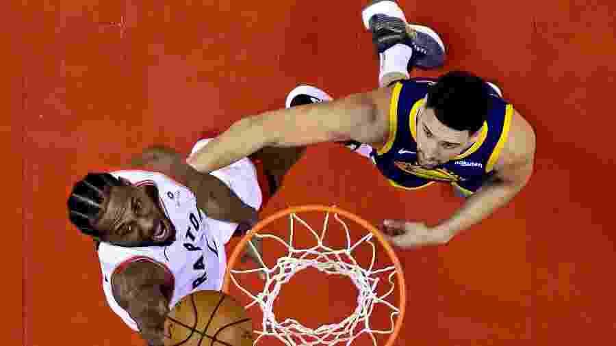 Kawhi Leonard e Klay Thompson disputam final da NBA - Nathan Denette/Pool Photo via USA TODAY Sports