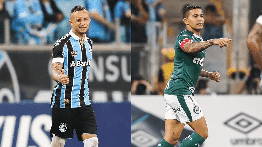 Everton e Dudu são os protagonistas de Grêmio e Palmeiras na temporada - Pedro H. Tesch/AGIF