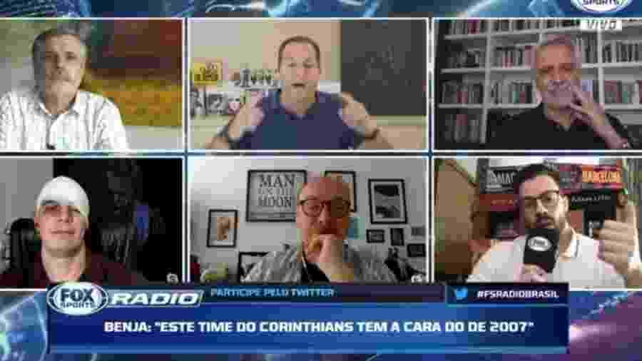"""Mano aparece no """"Fox Sports Rádio"""" machucado após derrota do Corinthians - Reprodução/Fox Sports"""