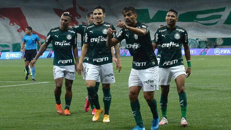 Jogadores do Palmeiras celebram gol contra o Libertad, pela Libertadores - Mauro Horita/Conmebol