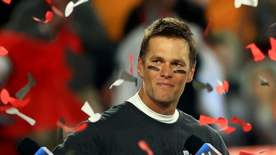 Tom Brady, após a conquista do Super Bowl pelo Tampa Bay Buccaneers - Mike Ehrmann/Getty Images