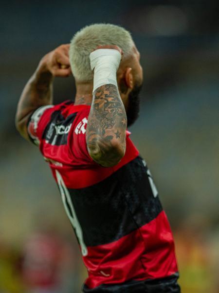 Gabigol comemora gol na semifinal do Carioca, contra o Volta Redonda - Marcelo Cortes/ Flamengo