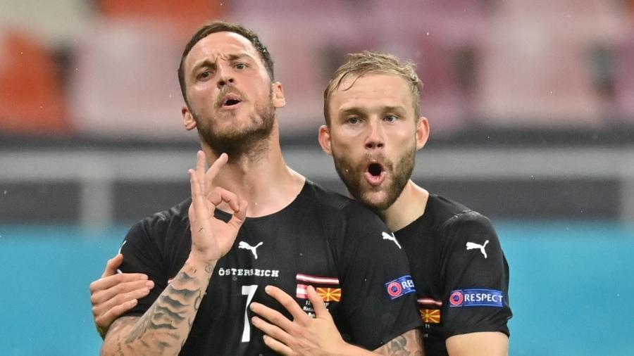 Arnautovic, da Áustria, emitiu palavras e gestos agressivos após marcar um gol na partida contra a Macedônia do Norte - Pool via REUTERS