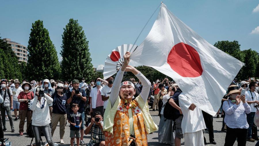 Kyoko Ishikawa em apresentação da força aérea japonesa antes da cerimônia de abertura das Olimpíadas de Tóquio-2020 - Yasuyoshi Chiba/AFP