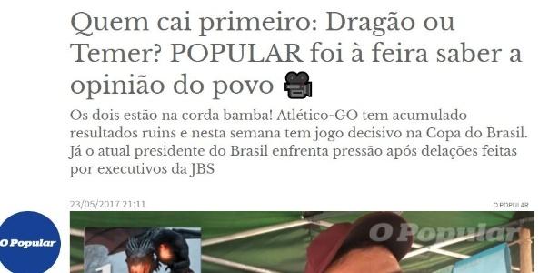 Reportagem do jornal O Popular, de Goiânia, irritou o Atlético-GO - Reprodução/Jornal O Popular