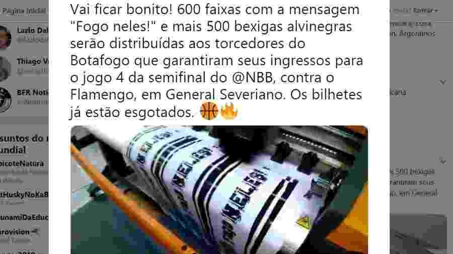 Botafogo cancela ação junto a torcida depois de repercussão negativa - Reprodução Instagram