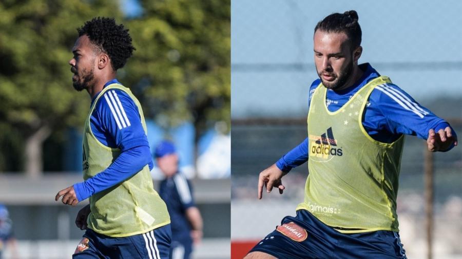 Montagem com fotos de Claudinho e Giovanni, que vivem situações diferentes no Cruzeiro - Gustavo Aleixo/Cruzeiro