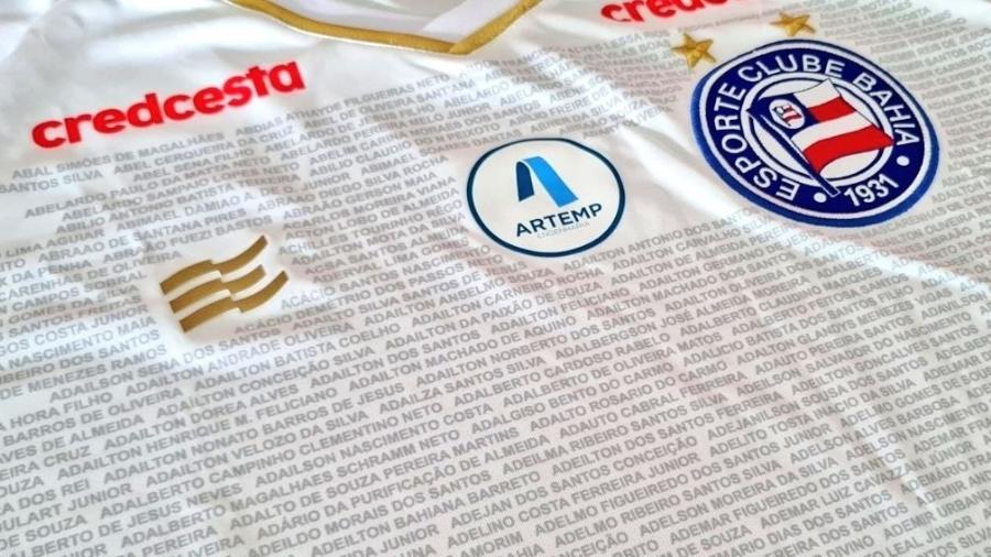 Camisa especial com nome dos sócios será usada pelo Bahia na última rodada - Reprodução