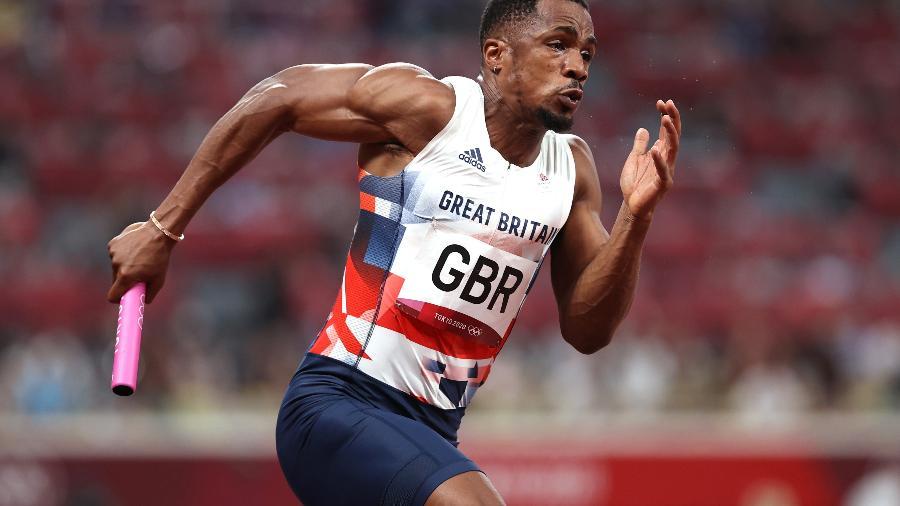 Chijindu Ujah, da Grã-Bretanha, medalha de prata no 4x100m das Olimpíadas de Tóquio - Cameron Spencer/Getty Images