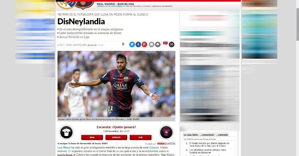 Jornal esportivo espanhol Marca elogia atuação de Neymar no Barcelona e chama equipe de 'DisNeylândia'