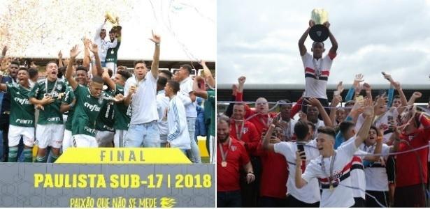 Categorias de base de Palmeiras e São Paulo duelaram em finais neste fim de semana - Montagem sobre divulgação