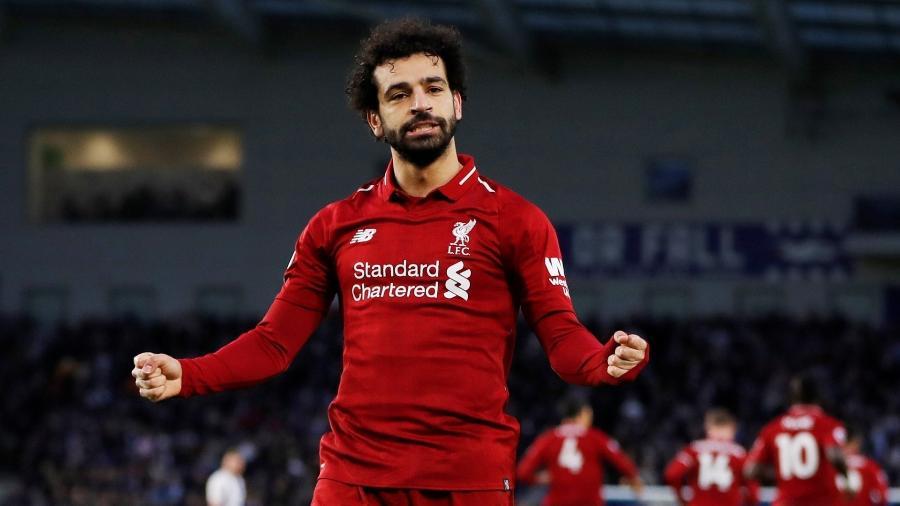 Mohamed Salah comemora gol marcado para o Liverpool contra o Brighton - Reuters/Paul Childs