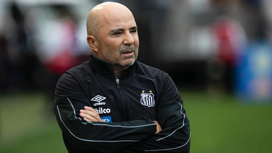 Jorge Sampaoli, técnico do Santos, durante o clássico contra o Corinthians - Daniel Vorley/AGIF
