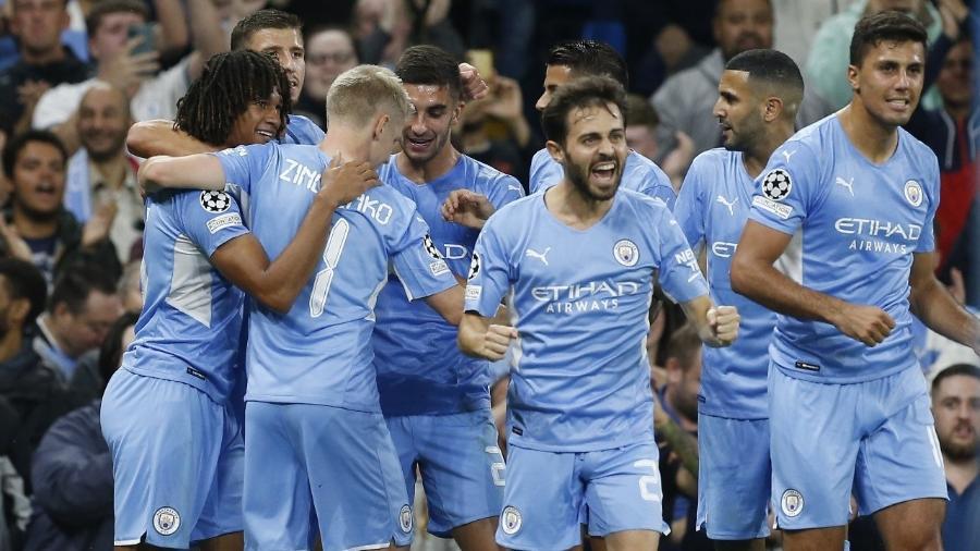 Jogadores do Manchester City comemoram gol marcado contra o RB Leipzig na Liga dos Campeões - REUTERS/Craig Brough