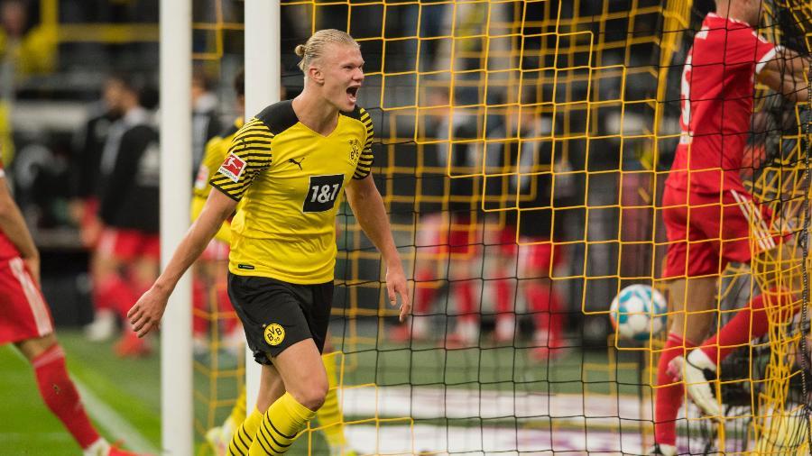Haaland comemora gol contra o Union Berlin - Reprodução/Twitter @BVB