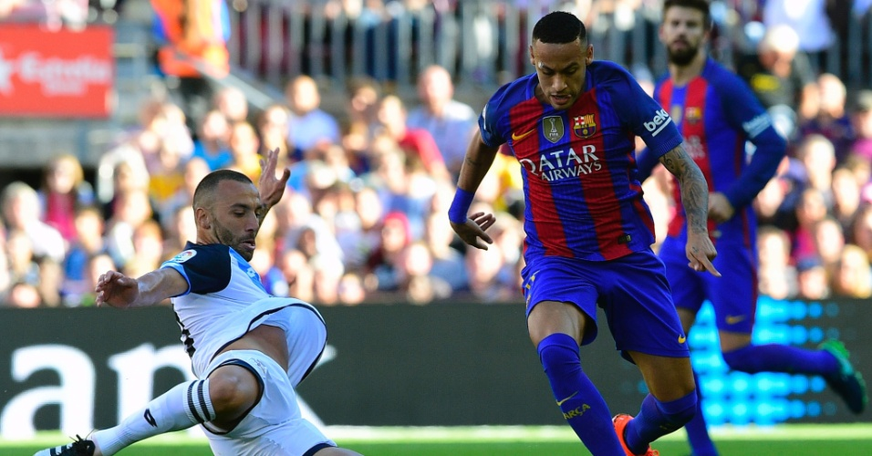 Neymar durante Barcelona x La Coruña