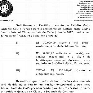 Documento mandado pelo Atlético-PR ao Coritiba