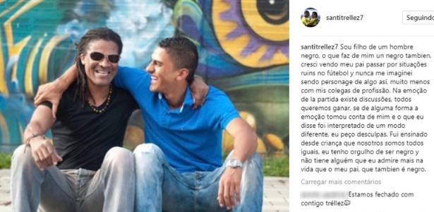 """Santiago Trelléz posta foto com pai negro no Instagram: """"orgulho de ser preto"""" - Reprodução/Instagram"""