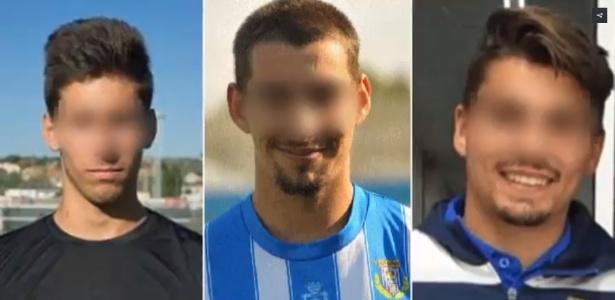 Carlos Cuadrado Santos, Raúl Calvo e Víctor Rodríguez Ramos, jogadores do Arandina Club de Fútbol