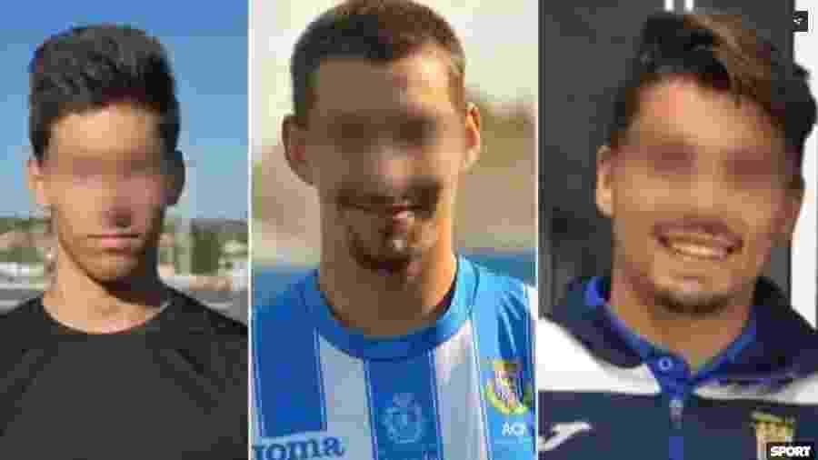 Carlos Cuadrado Santos, Raúl Calvo e Víctor Rodríguez Ramos, jogadores do Arandina Club de Fútbol - Reprodução/Sport/Atlas