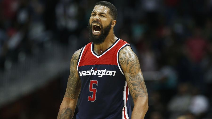 Markieff Morris comemora cesta do Washington Wizards contra o Atlanta Hawks em abril - Mike Zarrilli/Getty Images