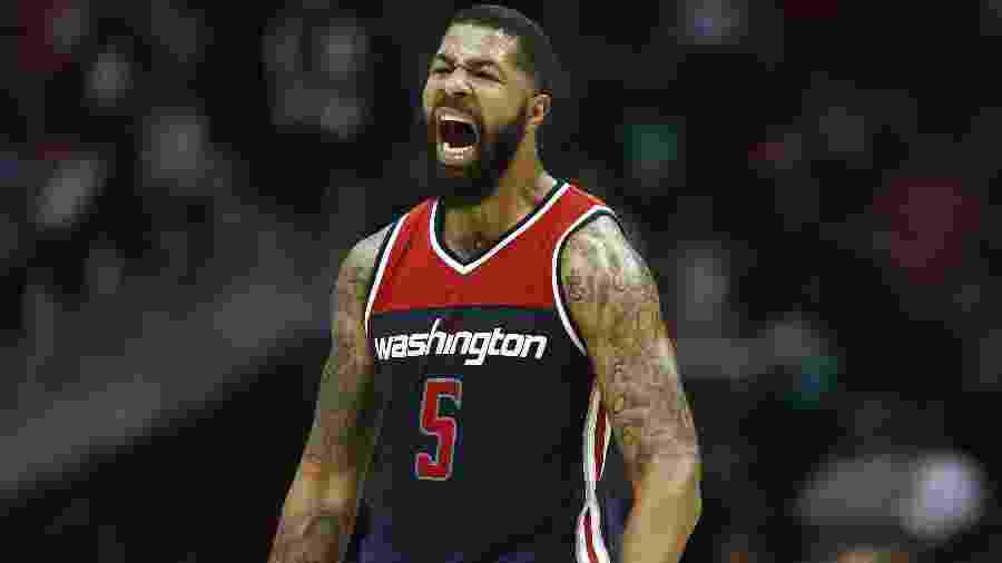 Markieff Morris comemora cesta do Washington Wizards contra o Atlanta Hawks em abril - Mike Zarrilli/Getty Images