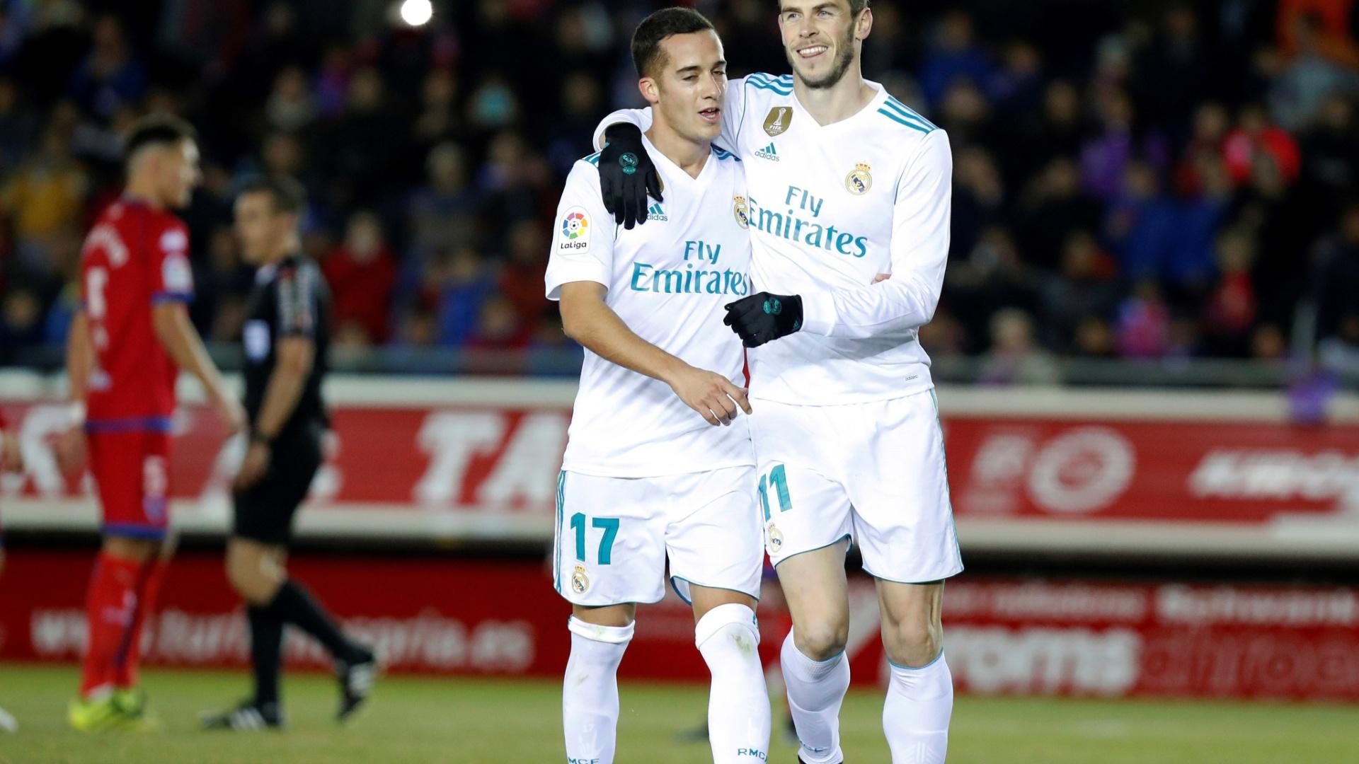 Lucas Vázquez e Gareth Bale comemoram gol do Real Madrid contra o Numancia